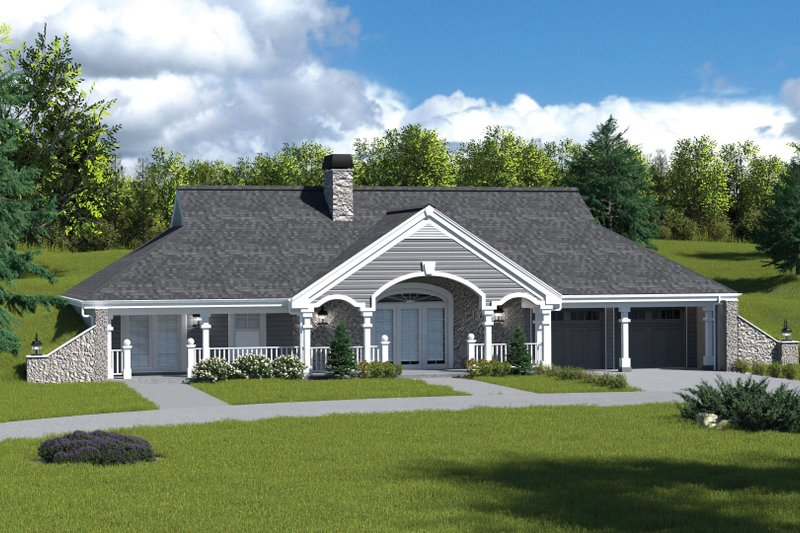 Farmhouse Style House Plan - 2 Beds 2 Baths 1480 Sq/Ft Plan #57-366 Exterior - Front Elevation