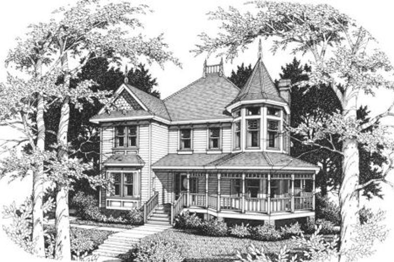 Victorian Style House Plan - 3 Beds 2.5 Baths 2340 Sq/Ft Plan #10-204 Exterior - Front Elevation