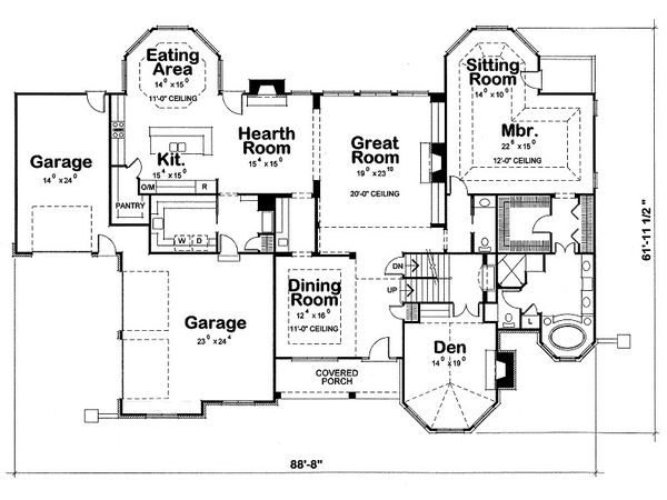 European Floor Plan - Main Floor Plan Plan #20-2047