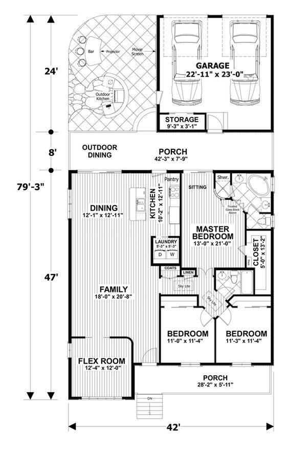 Craftsman Floor Plan - Main Floor Plan Plan #56-708