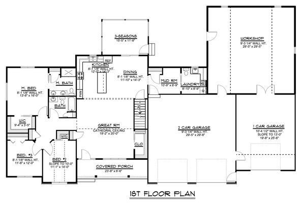 Craftsman Floor Plan - Main Floor Plan #1064-36