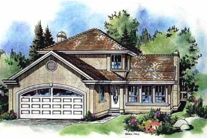 House Blueprint - European Exterior - Front Elevation Plan #18-202