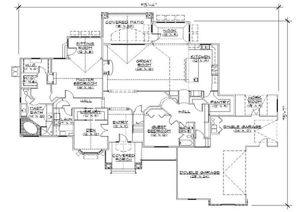 European Floor Plan - Main Floor Plan Plan #5-424