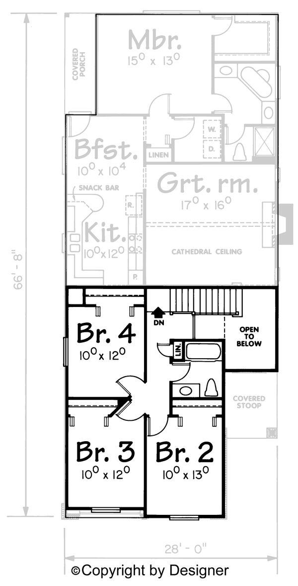 Dream House Plan - Traditional Floor Plan - Upper Floor Plan #20-534