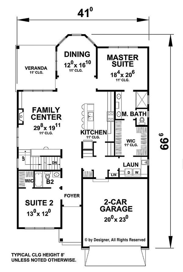 Traditional Floor Plan - Main Floor Plan Plan #20-2275