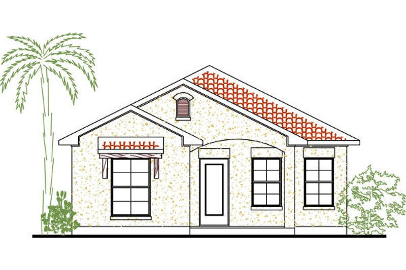 European Style House Plan - 3 Beds 2 Baths 1200 Sq/Ft Plan #80-132