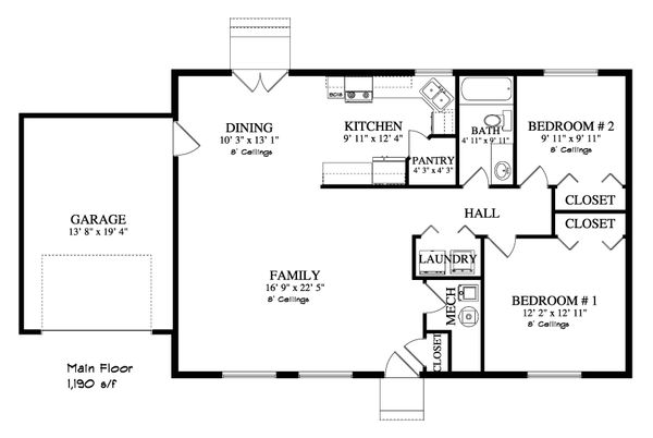 Ranch Floor Plan - Main Floor Plan Plan #1060-3