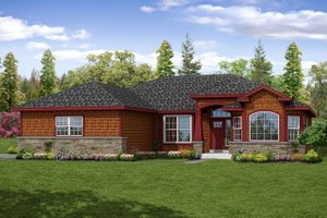 Ranch Exterior - Front Elevation Plan #124-1048