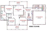 Country Style House Plan - 4 Beds 3 Baths 2649 Sq/Ft Plan #63-166 Floor Plan - Main Floor Plan
