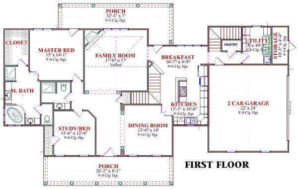 Country Floor Plan - Main Floor Plan Plan #63-166