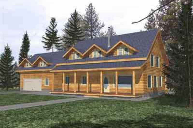 Log Exterior - Front Elevation Plan #117-108 - Houseplans.com