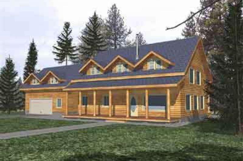 Dream House Plan - Log Exterior - Front Elevation Plan #117-108