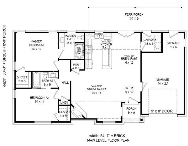 Craftsman Floor Plan - Main Floor Plan Plan #932-202