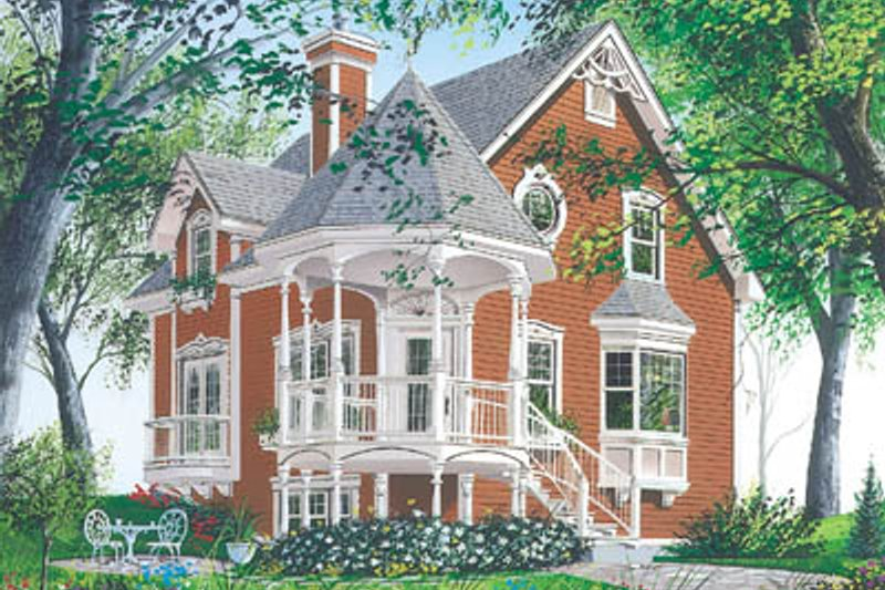 Victorian Style House Plan - 3 Beds 2 Baths 1597 Sq/Ft Plan #23-219 Exterior - Front Elevation