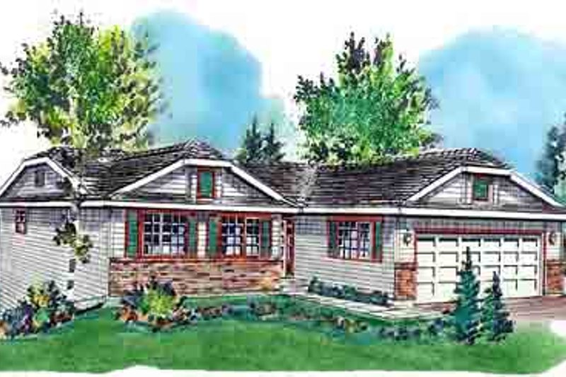 Ranch Style House Plan - 3 Beds 2 Baths 1097 Sq/Ft Plan #18-168 Exterior - Front Elevation