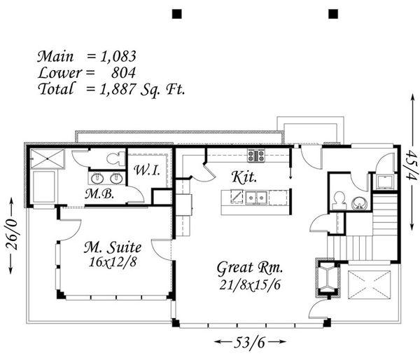 Modern Floor Plan - Main Floor Plan Plan #509-42