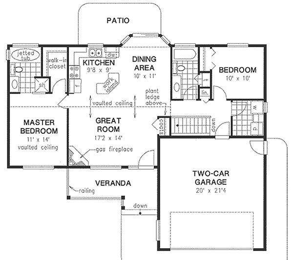 Ranch Style House Plan - 2 Beds 2 Baths 1096 Sq/Ft Plan #18-1055 Floor Plan - Main Floor Plan
