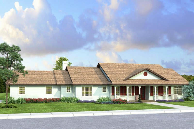 Country Style House Plan - 3 Beds 2.5 Baths 2233 Sq/Ft Plan #124-1023 Exterior - Front Elevation