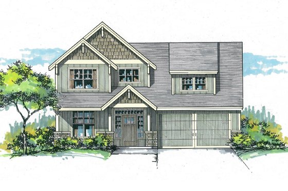 Craftsman Exterior - Front Elevation Plan #53-570