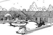 Ranch Style House Plan - 5 Beds 3.5 Baths 3625 Sq/Ft Plan #60-595 Exterior - Front Elevation