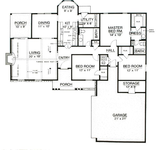 Ranch Floor Plan - Main Floor Plan Plan #45-375