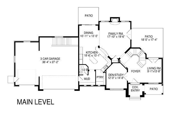 Traditional Floor Plan - Main Floor Plan Plan #920-82