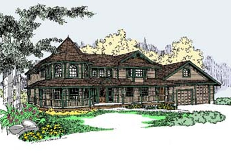 Victorian Style House Plan - 4 Beds 3 Baths 3419 Sq/Ft Plan #60-568 Exterior - Front Elevation