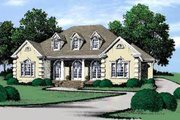European Style House Plan - 4 Beds 3 Baths 2869 Sq/Ft Plan #37-118 Exterior - Front Elevation