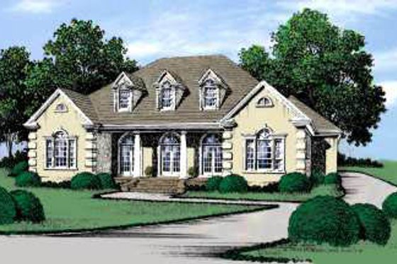 European Exterior - Front Elevation Plan #37-118
