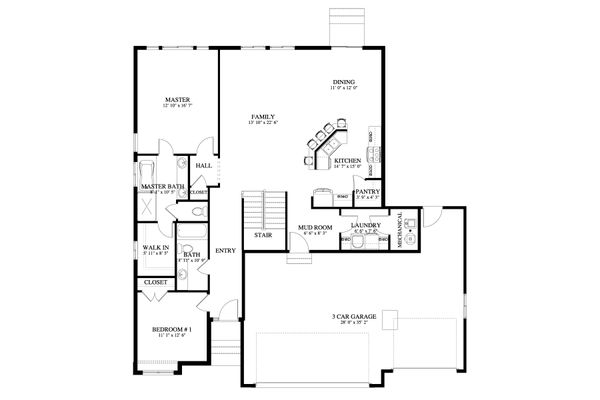 Craftsman Floor Plan - Main Floor Plan Plan #1060-50