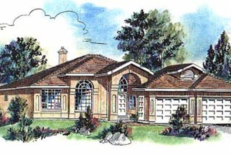 House Blueprint - European Exterior - Front Elevation Plan #18-148