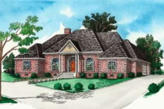 Southern Exterior - Front Elevation Plan #16-302