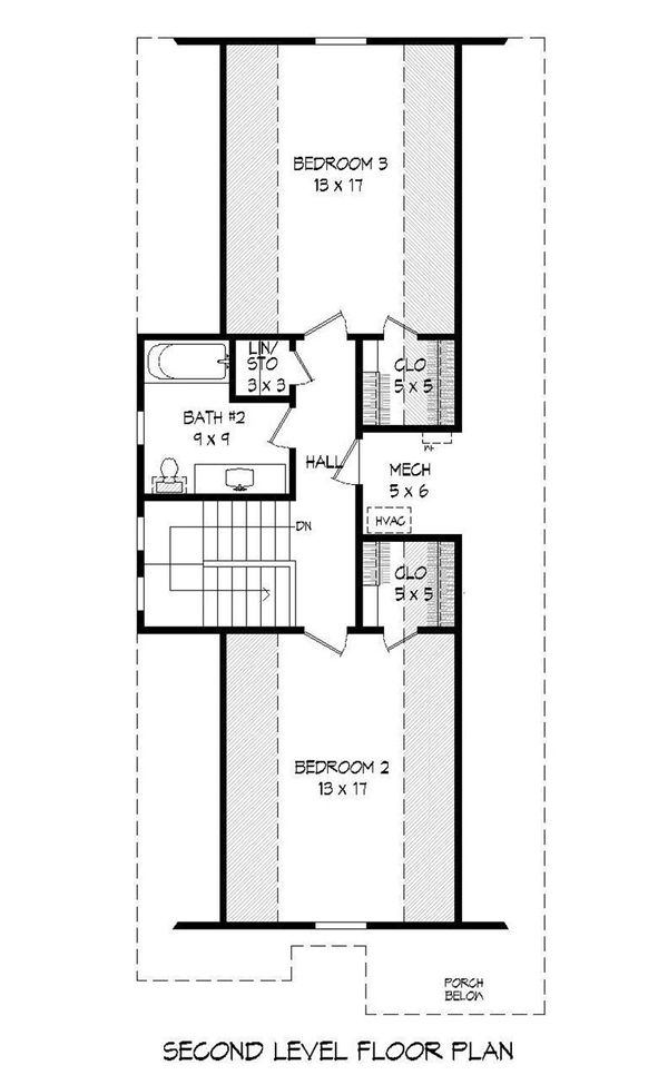 Traditional Floor Plan - Upper Floor Plan Plan #932-18