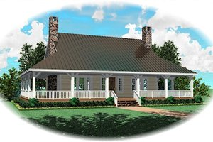 Southern Exterior - Front Elevation Plan #81-13804
