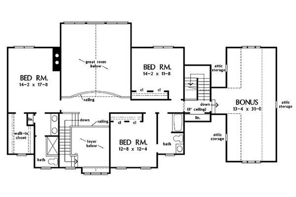 Country Floor Plan - Upper Floor Plan #929-44