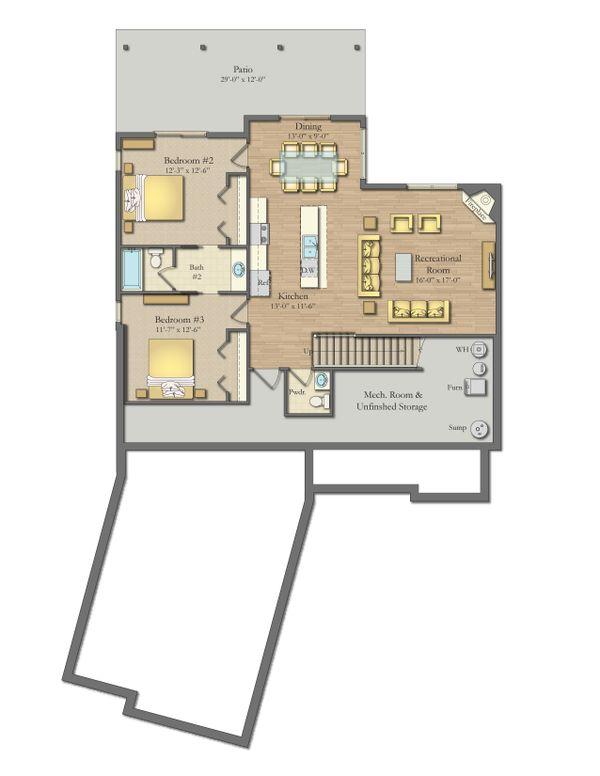 Dream House Plan - Craftsman Floor Plan - Lower Floor Plan #1057-21