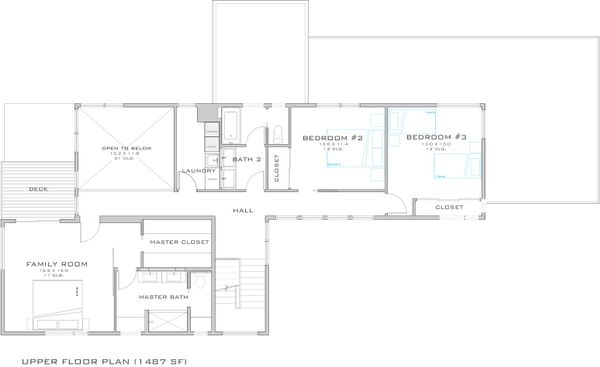 Modern Floor Plan - Upper Floor Plan Plan #909-1