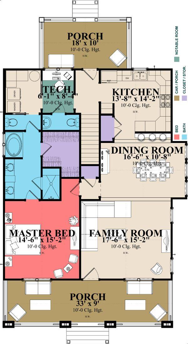 House Design - Craftsman Floor Plan - Main Floor Plan #63-380