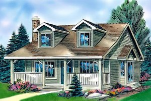 Cottage Exterior - Front Elevation Plan #18-1043