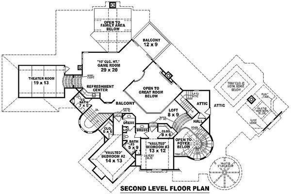 Upper level floor plan - 8200 square foot European Home