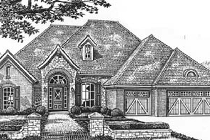 Tudor Style House Plan - 4 Beds 3 Baths 2526 Sq/Ft Plan #310-537 Exterior - Front Elevation