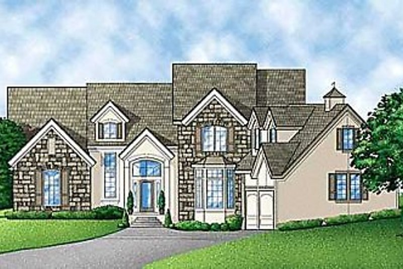 Traditional Style House Plan - 4 Beds 4 Baths 3487 Sq/Ft Plan #67-132 Exterior - Front Elevation