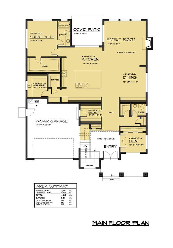 Contemporary Floor Plan - Main Floor Plan Plan #1066-69