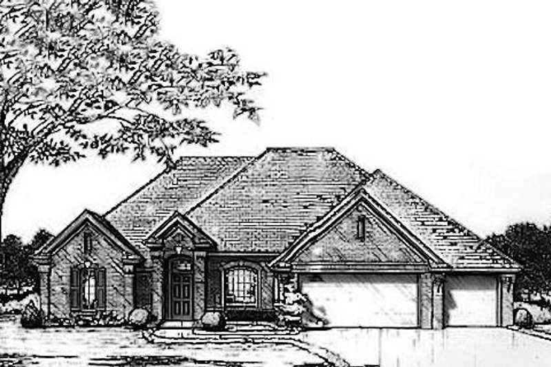 Traditional Style House Plan - 3 Beds 2 Baths 2106 Sq/Ft Plan #310-926 Exterior - Front Elevation