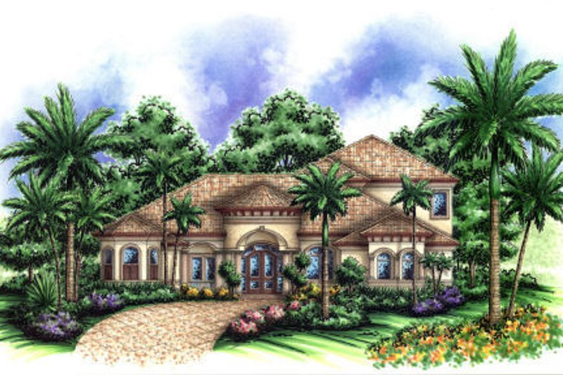 Mediterranean Style House Plan - 5 Beds 4.5 Baths 4381 Sq/Ft Plan #27-384 Exterior - Front Elevation