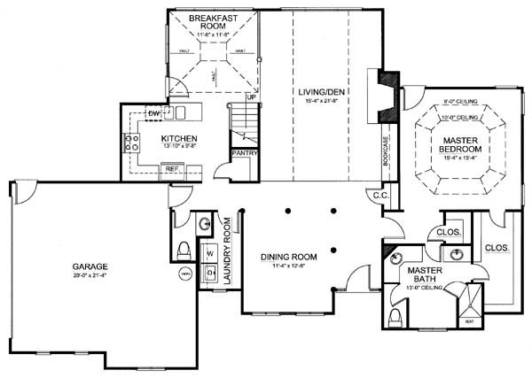 European Floor Plan - Main Floor Plan Plan #119-282