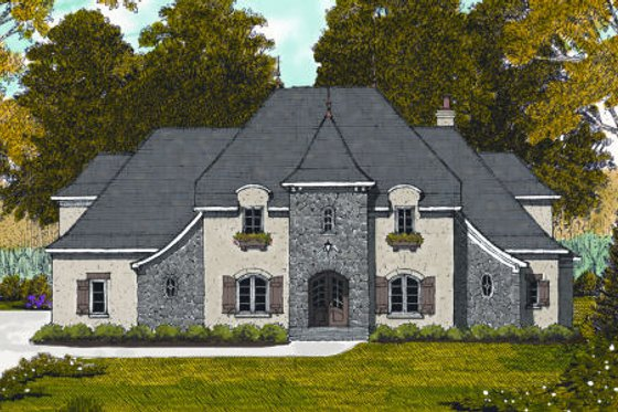 European Exterior - Front Elevation Plan #413-809
