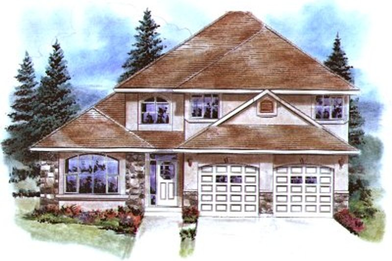 House Blueprint - European Exterior - Front Elevation Plan #18-295