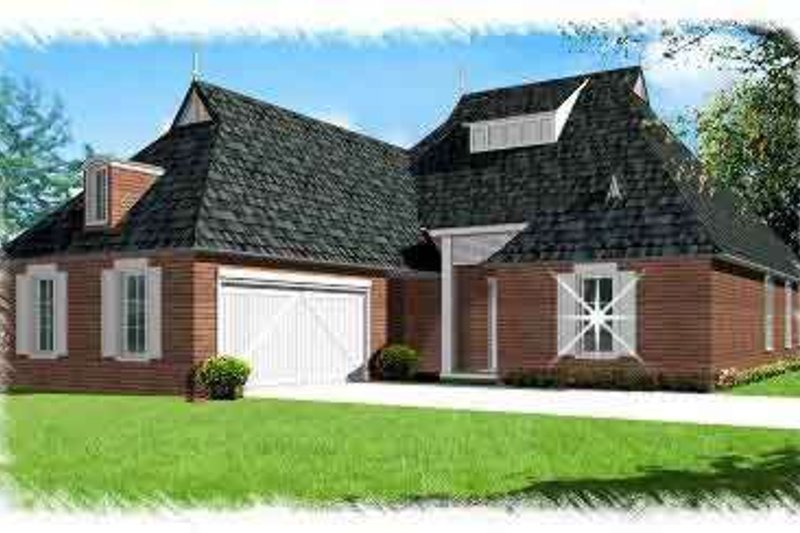 European Style House Plan - 4 Beds 3 Baths 2560 Sq/Ft Plan #15-283 Exterior - Front Elevation
