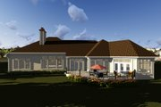 Ranch Style House Plan - 2 Beds 2.5 Baths 4373 Sq/Ft Plan #70-1293 Exterior - Rear Elevation